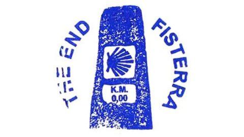 Sello de Fisterra. Representa el final del Camino en el mojón del kilómetro cero.