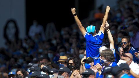 Afición de Real Oviedo, durante un partido de esta temporada en el Carlos Tartiere
