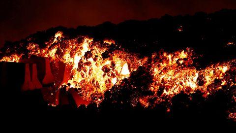 Ríos de lava del volcán de La Palma.