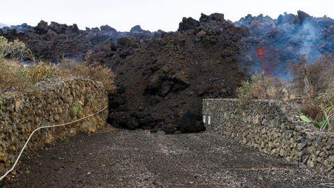 Una lengua de lava en Los Llanos.