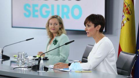 En una comparecencia tras el Consejo de Ministros, Nadia Calviño e Isabel Rodríguez hicieron balance de la situación en La Palma tras la erupción del volcán