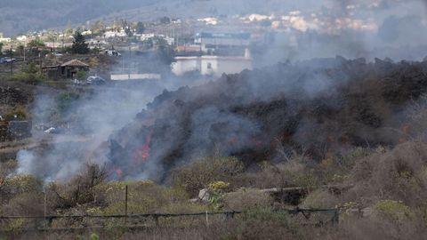 Lava y piroclastos en la zona de Cabeza de Vaca de La Palma