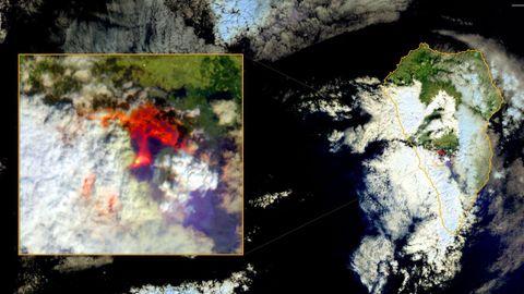 Las zonas afectadas por la erupción volcánica, en dos imágenes superpuestas captadas por el satélite Copernicus de la Unión Europea