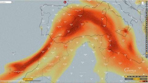Avance hacia el Mediterráneo del dióxido de azufre que emite el volcán de Cumbre Vieja.