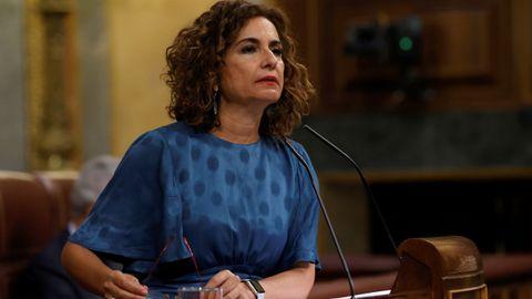 La ministra de Hacienda, Maria Jesús Montero, este miércoles en el Congreso
