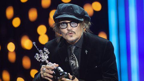 Johnny Depp, al recoger el premio Donostia