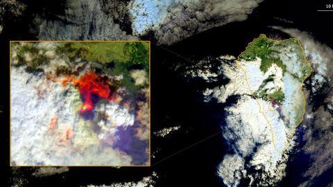 Imagen de la nube salida del volcán de La Palma captada por el sistema de satélites europeo Copérnico