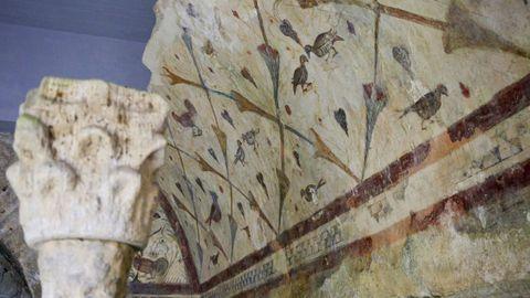 Detalle de las pinturas murales del templo de Bóveda.