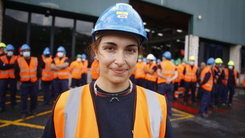 La pareja de la viveirense Iria de Fernández, operaria de Vestas de 31 años, trabaja en la planta de Aluminio de Alcoa San Cibrao, cuya continuidad también está en el aire