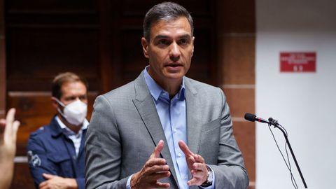 Pedro Sánchez, este viernes, en La Palma, en donde hizo declaraciones sobre la detención de Carles Puigdemont