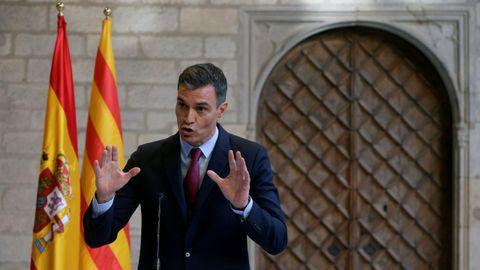 El presidente del Gobierno, Pedro Sánchez, en rueda de prensa en el Palacio de la Generalitat, en Barcelona, el pasado 15 de septiembre.