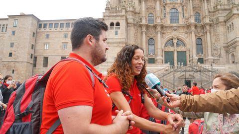 El piragüista David Cal y la jugadora de balonmano Begoña Fernández.