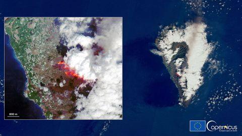 Imagen de la actividad volcánica en la isla de La Palma desde el satélite Copernicus Sentinel-2 captada este sábado