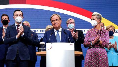 Armin Laschet, en su primer discurso en la sede de la CDU.