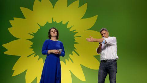 La candidata de Los Verdes, Annelena Barbock, ayer, tras conocer los primeros resultados de las elecciones en Alemania.