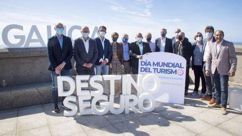 El vicepresidente primero, Alfonso Rueda, durante la conmemoración del Día Mundial del Turismo en Fisterra.