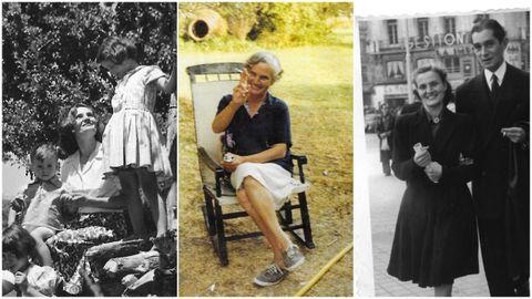 Carmen Laforet con tres de sus cinco hijos y con el periodista gallego con el que se casó, Manuel Cerezales. Se separaron en 1970.