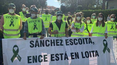 Protesta de trabajadores de Ence, el 29 de septiembre, en A Toxa