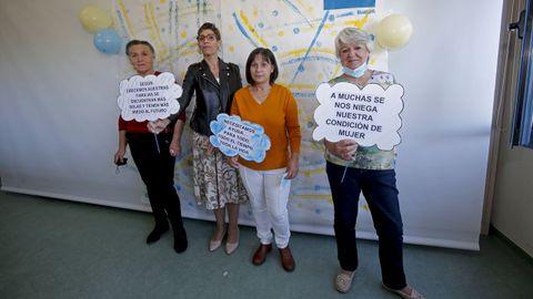 Dolores Recamán, Fátima Maravalhas, Carmen Verdeal y Bebi Blanco, madres de hijos con parálisis cerebral, este miércoles, en Amencer