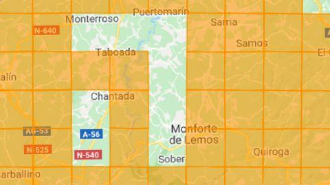 Zonas estudiadas y sin estudiar. Un mapa del proyecto Morcegos de Galicia muestra las áreas del sur lucense donde ya se registró la presencia de diversas especies de murciélagos, que corresponden a las cuadrículas en naranja. Los espacios en blanco son los que todavía no fueron estudiados