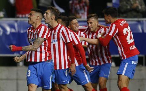 Celebración gol Real Sporting
