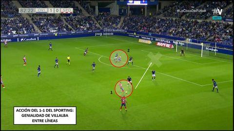 Genialidad en el empate. 1-Villalba, entre líneas, dando el pase de gol. 2-Desmarque de Djuka a la espalda de Calvo