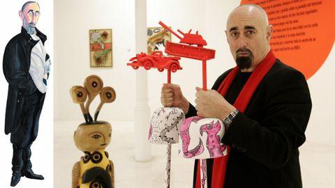 Paco Pestana, retratado por Siro e nunha exposición coas súas obras en Ourense.
