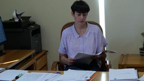 Ana Pontón, durante la preparación de su intervención en el debate sobre el estado de la autonomía
