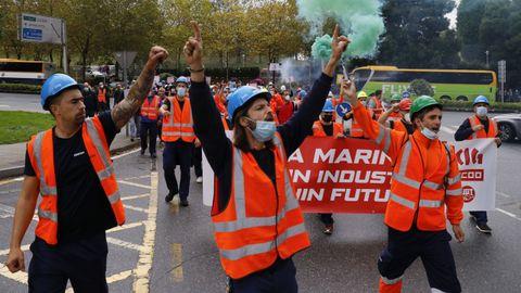 Trabajadores de Vestas, en una manifestación en Santiago de Compostela