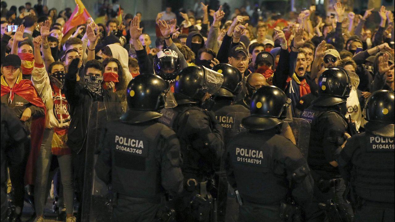 Un momento de la concentración independentista de este jueves en Barcelona
