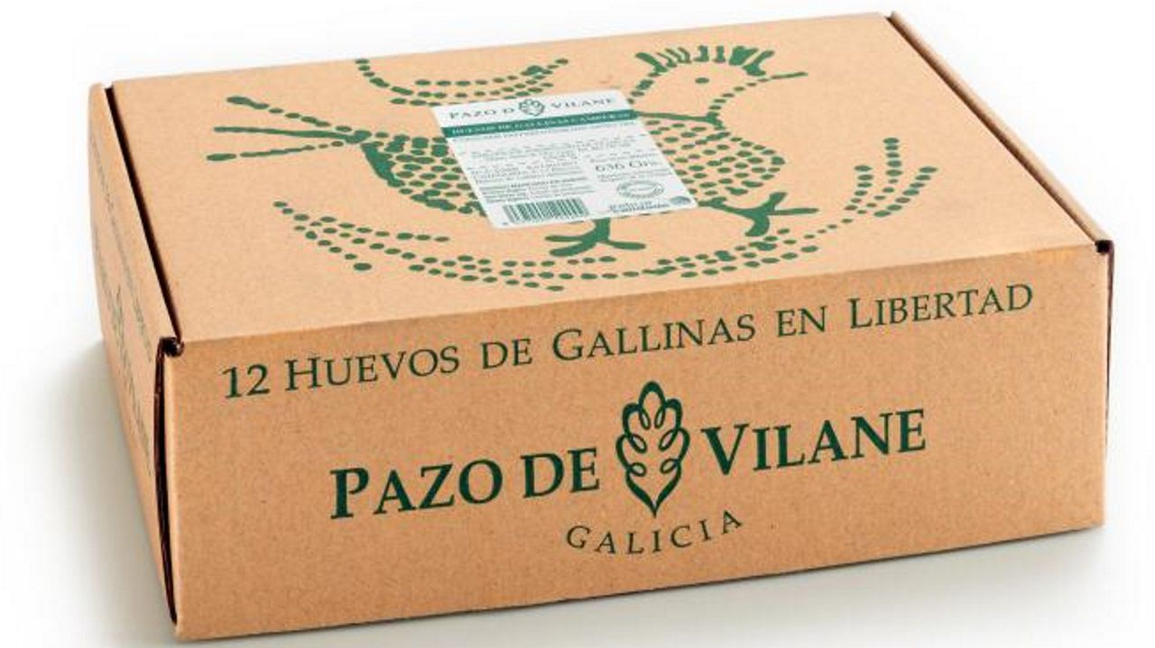 Imagen de la caja en la que Pazo de Vilane presenta sus huevos