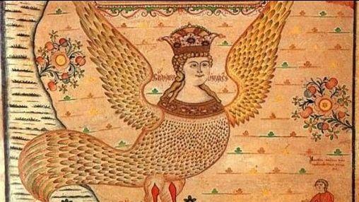 Representación orixinal dunha serea ave e muller