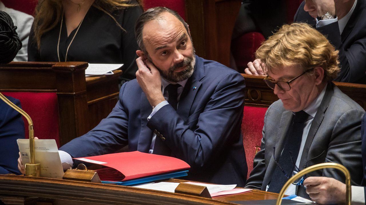 El primer ministro r Edouard Philippe, en la sesión sobre las dos mociones de censura