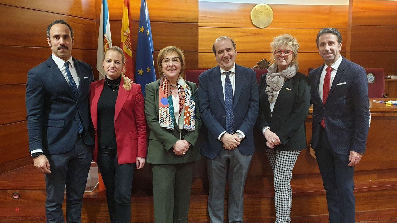 El equipo ganador. Augusto Pérez-Cepeda (en el centro), ayer con los miembros de su candidatura, María Luisa Tato, María del Pilar Cortizo, Carlos Tomé, José Luis Villar y Beatriz Núñez.