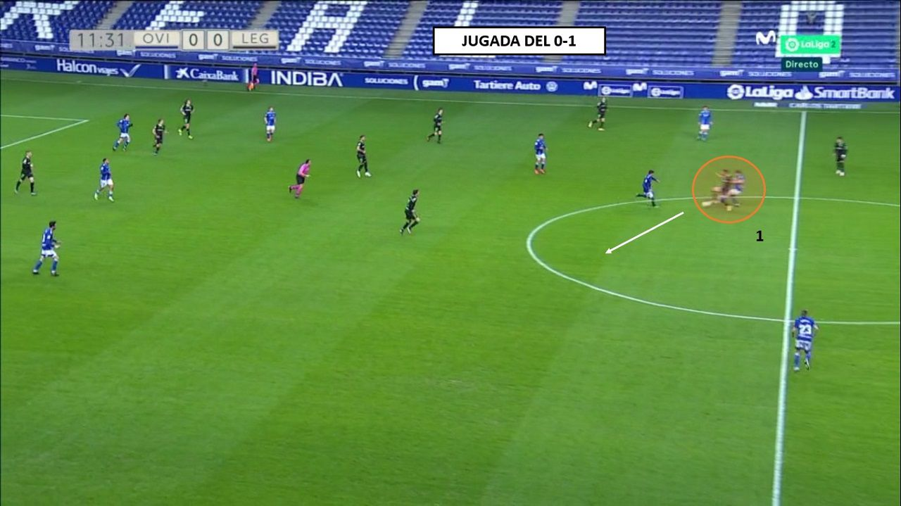Origen del primer gol: 1-Bastón, superando a Christian, recibe un pase largo de Cuéllar e instala al Leganés
