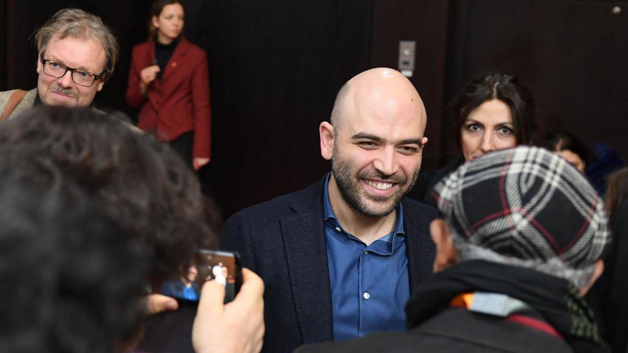 Saviano, en un instante de la presentación en la Berlinale