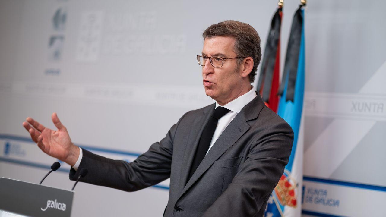 Alberto Núñez Feijóo comparece en San Caetano para abordar la evolución de la crisis sanitaria en Galicia