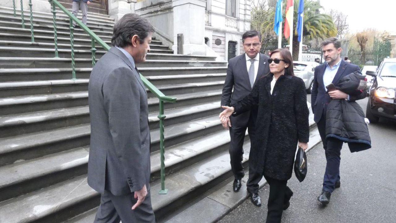 El presidente del Principado, Javier Fernández, recibe a Soledad Saavedra, viuda de Vicente Álvarez Areces
