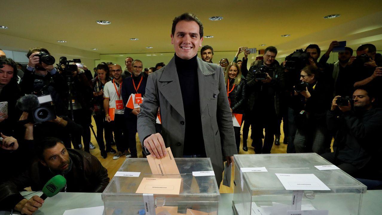 Rivera vota en el Colegio Volturno de Pozuelo de Alarcón