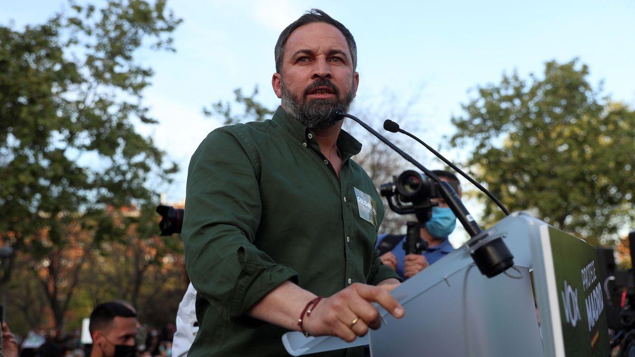 El líder de Vox interviene durante el acto de presentación de la candidatura de Rocío Monasterio