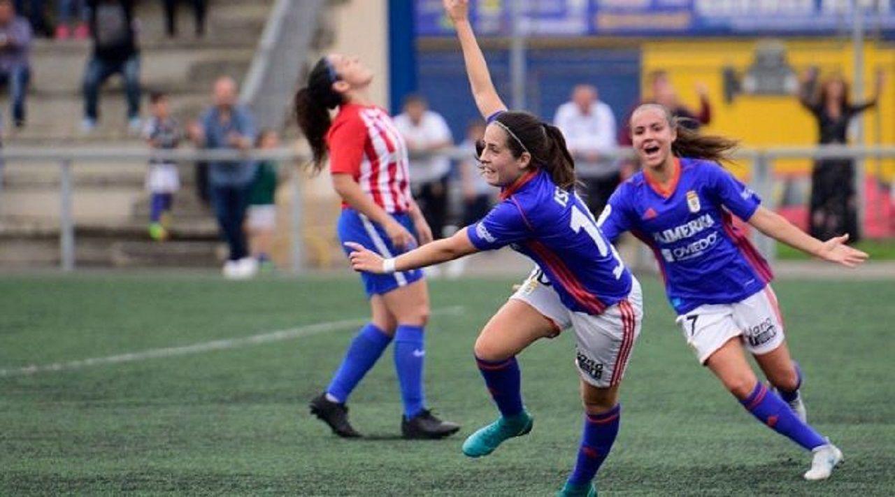 Isina Real Oviedo Femenino.Isina celebra un gol ante el Sporting en la 17/18