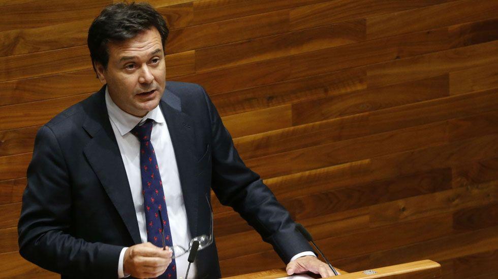 Javier Fernández interviene en el pleno de la Junta General.El consejero de Empleo Francisco Blanco