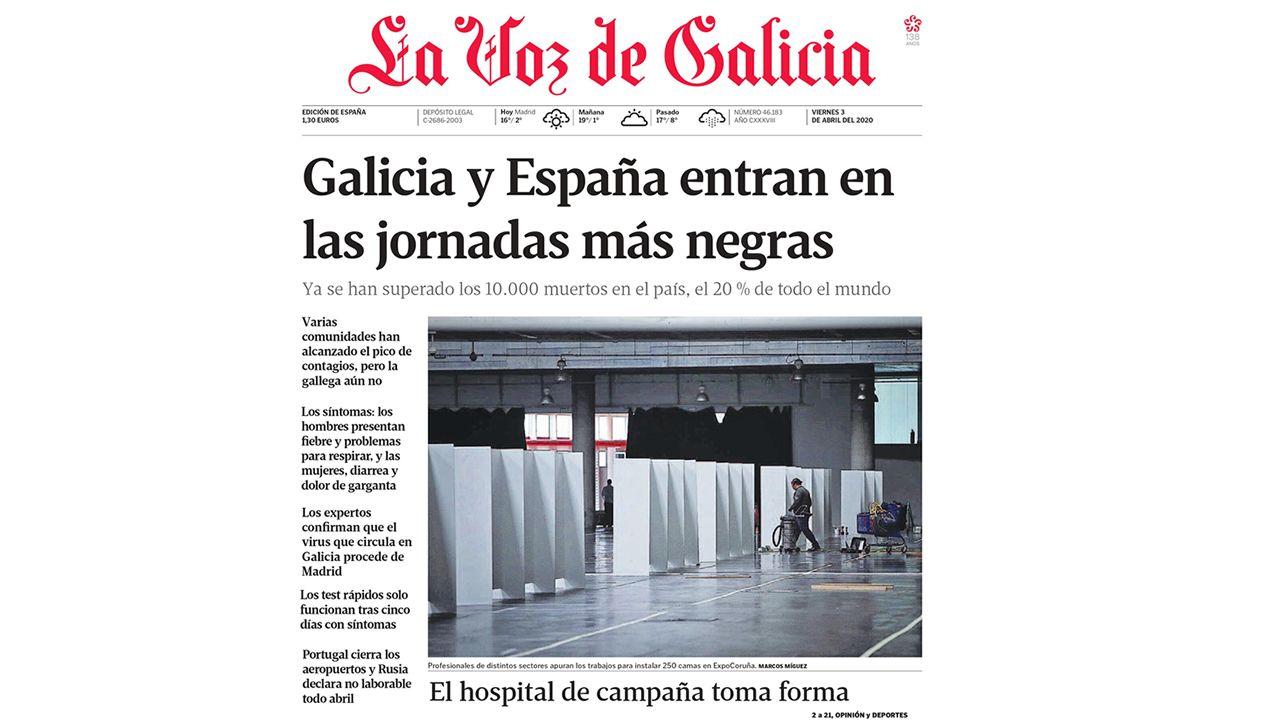 Primera de La Voz de Galicia del 3 de abril del 2020