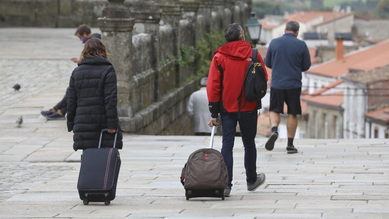 Turistas en Santiago el pasado mes de octubre
