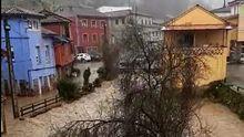 Inundaciones en Villoria, Laviana. Asturias