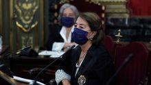 La fiscala Pilar Fernández Valcarce, durante la vista celebrada para revisar la condena e inhabilitación del presidente de la Generalitat, Quim Torra