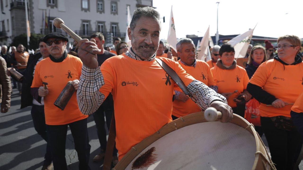 Imagen de las protestas protagonizadas el pasado febrero por los ganaderos gallegos en A Coruña