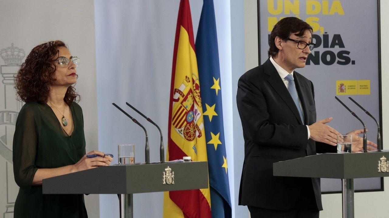 Comparecencia de Salvador Illa y María Jesús Montero. Sánchez y Arrimadas, en una reunión el 16 de diciembre del 2019
