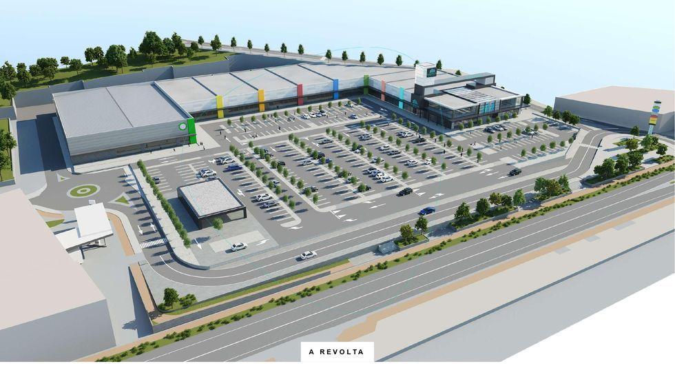 UN CARRIL INTERIOR. Es uno de los muchos aspectos llamativos del parque comercial: un carril interior de distribución junto al aparcamiento, paralelo a la AC-552, con acceso desde la futura rotonda de la carretera.