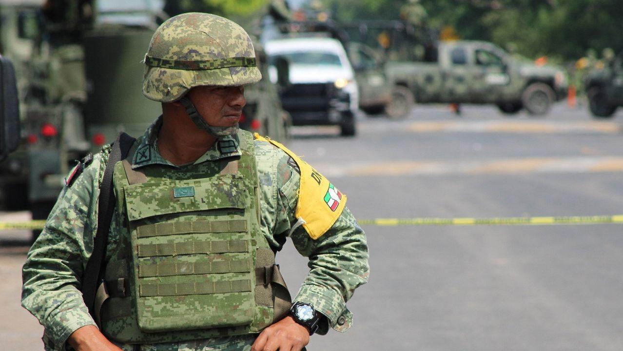 Imágenes de la pandemia en el mundo.Imagen de un soldado del Ejército mexicano